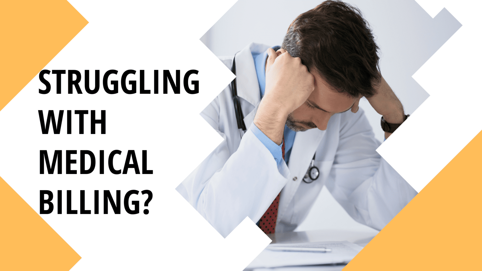 doctor struggling over medical billing paperwork